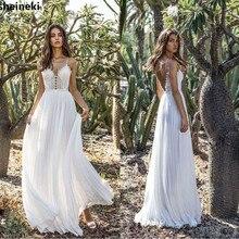 2019 Sexy Spaghetti Straps Beach Long Chiffon Boho Wedding Dresses Bohemian Wedding Gowns Backless Bride Dress Vestido De Noiva