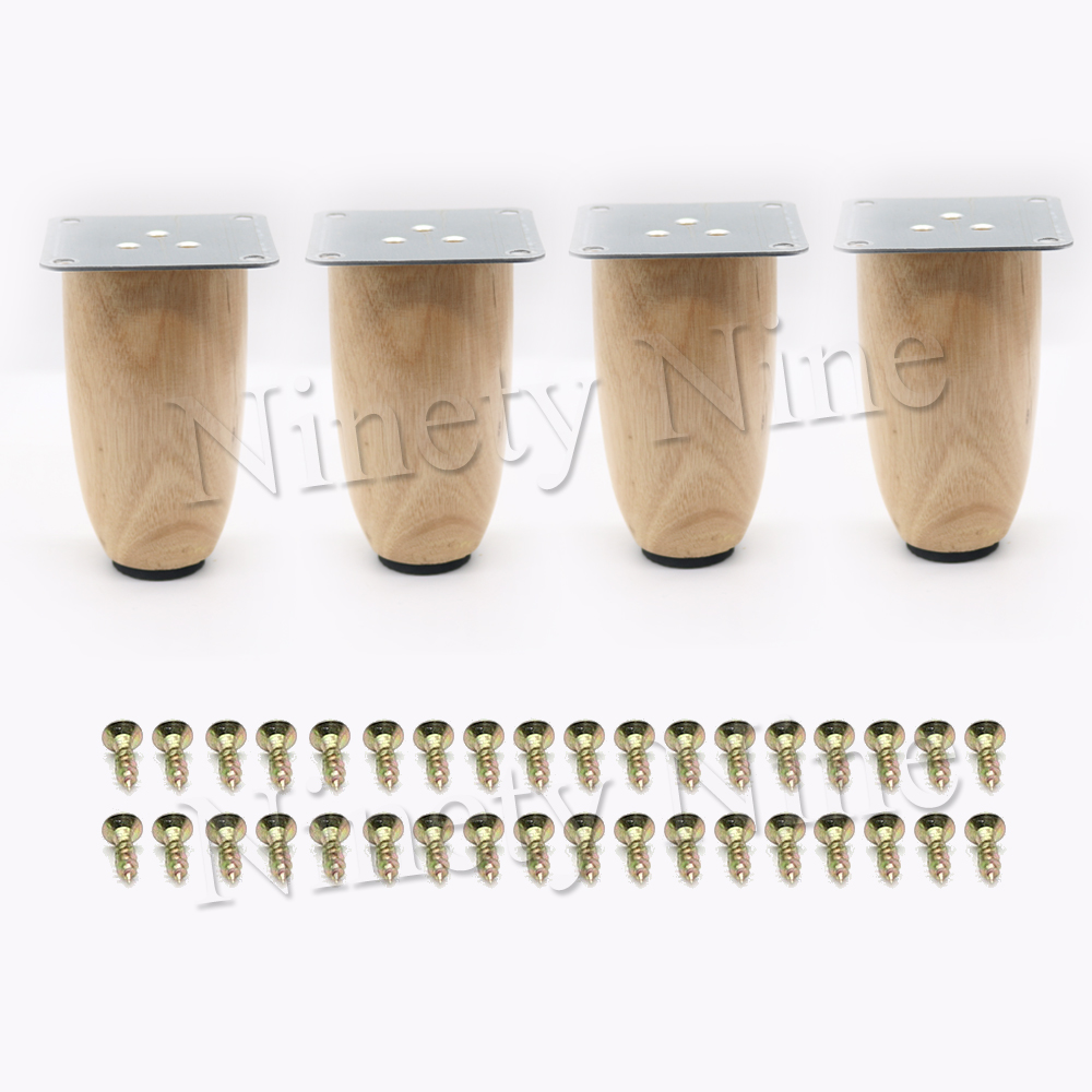 4Pcs Sofa Legs Wood Tapered Wooden Furniture Legs Wood Color 10cm