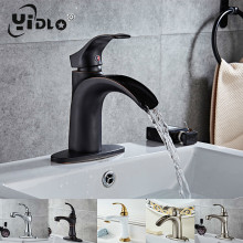 купить bathroom faucet mixer basin taps sink waterfall wash basin tap brass chrome vessel hot and cold water basin taps white A17 дешево