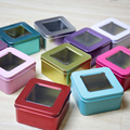 square tin skylight box( rose red / red / blue / peacock blue ). candy, chocolate, biscuit box(customization, printing)