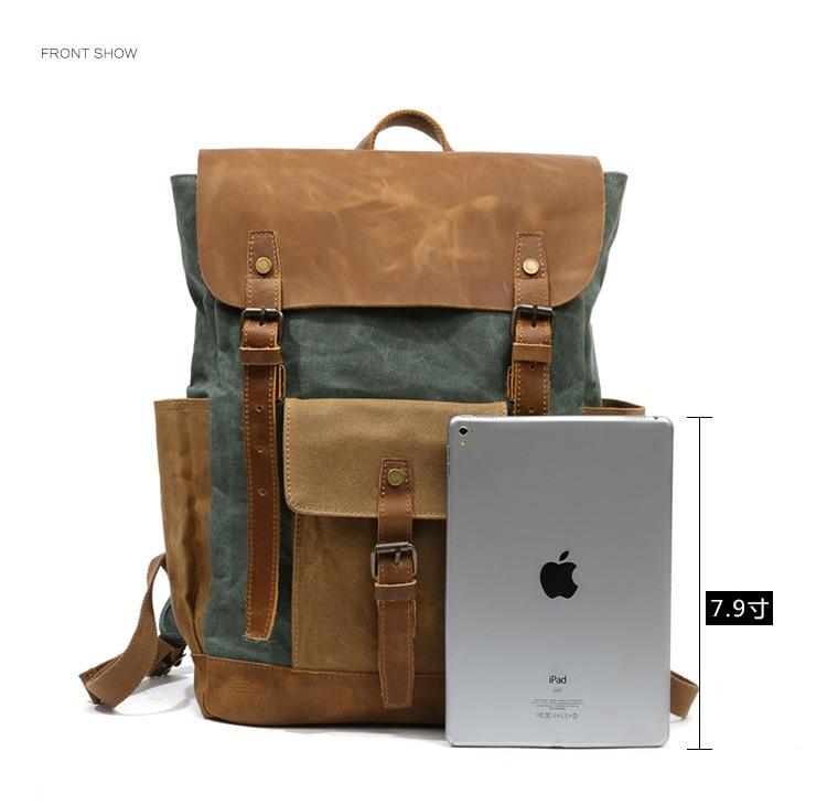 Retro Contrast Oil Wax Waterproof Canvas Bag Travel Backpack Computer Schoolbag Large Capacity Women Backpack 6