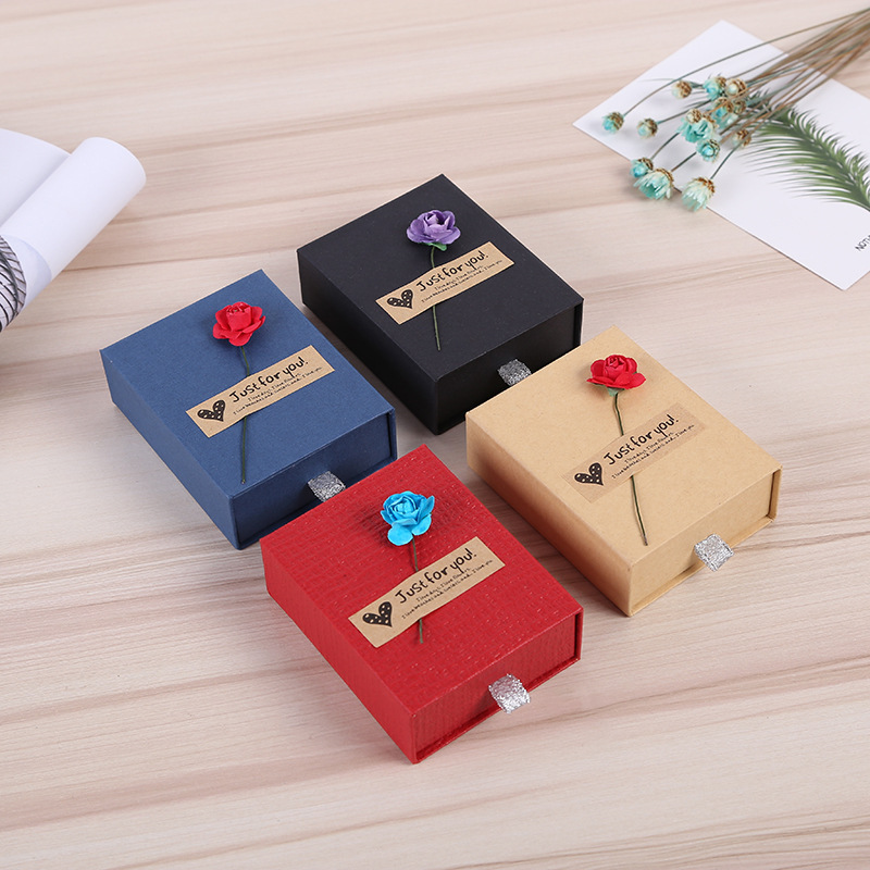 Jewelry Paper Gift Box Applique Design Organizer Portable Ring Bracelet Earring Display Storage Box Case Wedding Anniversary