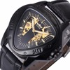 WINNER Automatic Mechanical Men Watch Racing Sports Design Triangle Skeleton Wristwatch Top Brand Luxury Golden Black