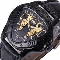 WINNER Automatic Mechanical Men Watch Racing Sports Design Triangle Skeleton Wristwatch Top Brand Luxury Golden Black