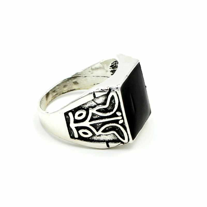 G005 Boho Punk Anillo Thumb Knuckle แฟชั่น Vintage หินสีดำ Obsidian แกะสลักแหวนสำหรับงานแต่งงานของขวัญเครื่องประดับ