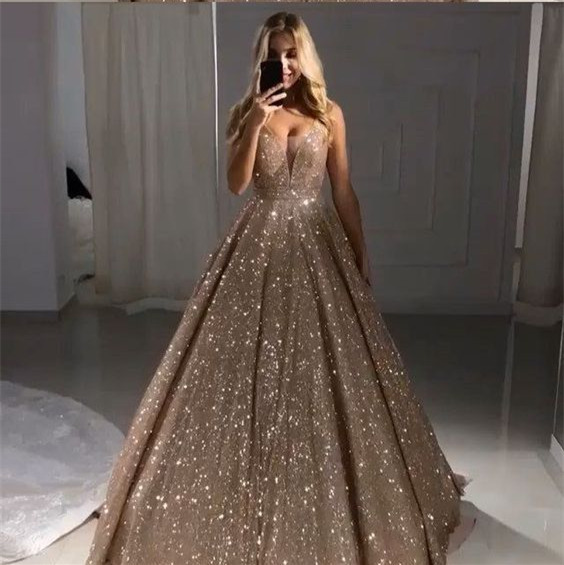 Sparkling   Evening     Dress   2019 vestidos de graduacion Deep V Neck A-line Rose Gold Glitter Fabric Bling Bling Pleated Prom   Dress