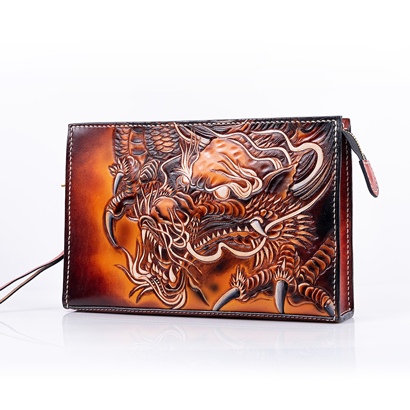 Hand-made Men Vegetable Tanned Leather Bag Money Holder Chinese Dragon Clutch Purse Clutches Envelope Boyfriend Gifts