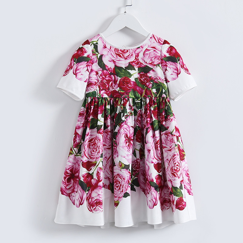 Flower Girls Dresses for Party and Wedding 2017 Summer Princess Print Rose Floral Costume Kids Dresses for Girls Clothes 5 7 8 summer flower children princess dresses for wedding and party 1 2 3 4 5 6 7 8 years girls clothes new style toddlers kids dress