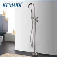 KEMAIDI Nickel Brushed Bathroom Solid Brass Floor Standing Tub Shower Faucet Set with Hand Shower Dual Handles Bathtub Filler