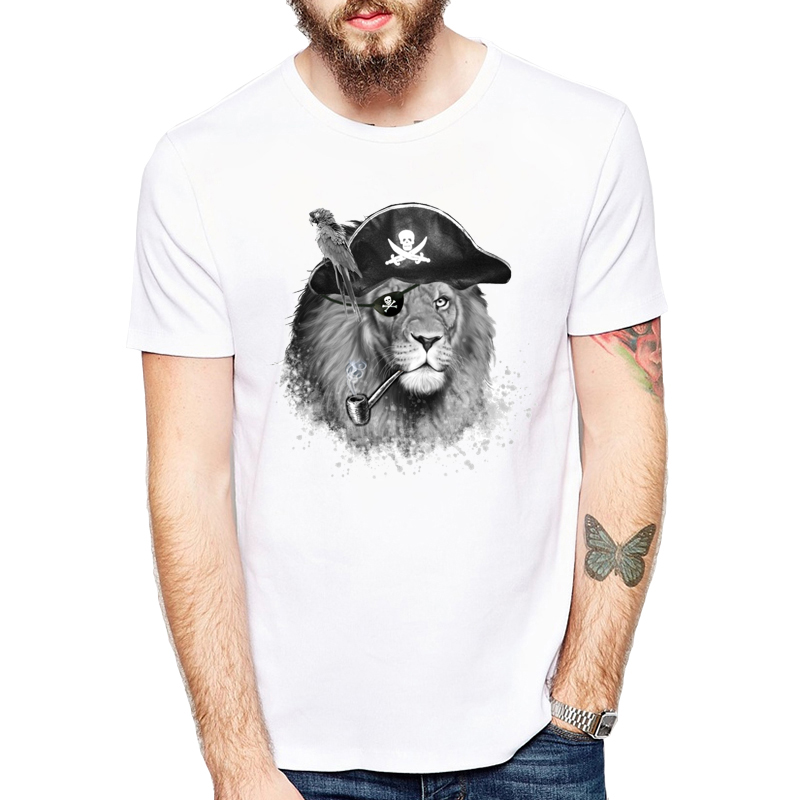 Forceful Newest Hand-painted Style Design Fashion The Pirate Lion King T-shirt Men's Cool Animal T Shirt Summer Novelty Male Tops Tee Supplement The Vital Energy And Nourish Yin