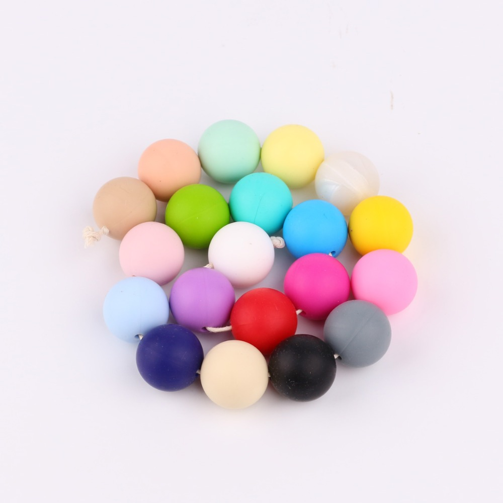 100Pcs Women Silicone Beads Multi Color Chewing Round Balls Necklace Making Bead