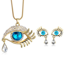 Elegant Teardrop Eye Crystal Jewelry Set For Women 18K Gold Austrian Rhinestone Evil Eye Necklace Earrings Set Colar Perola