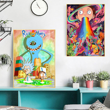 Funny Rick And Morty Cartoon Trippy Wallpaper Canvas Posters Prints Wall Art Painting Decorative Picture Modern Home Decoration