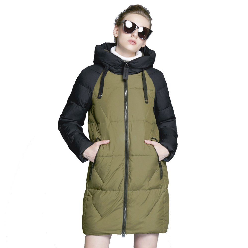 ICEbear 2018 Hot Sales High-quality Brand Apparel Windproof Thickened Warm Fashion Coat Winter Women Coat Long Jacket 17G637D outdoor skiing windproof warm hat army green