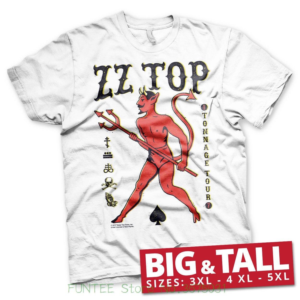 T-shirt homme 2018 nouveau sous licence officielle Zz-Top-Tonnage Tout grand & grand 3xl, 4xl, 5xl T-shirt homme