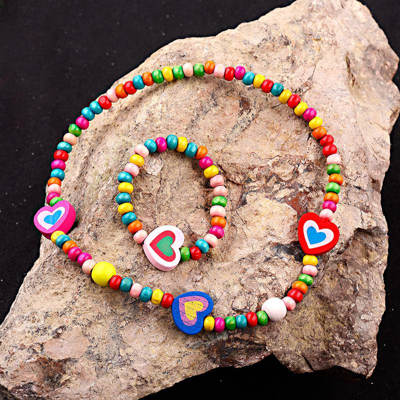 TopHanqi Cute love Heart children jewelry sets for girls Colorful Wooden Beads Necklace Bracelet Set Baby Kids Jewelry gift 2019