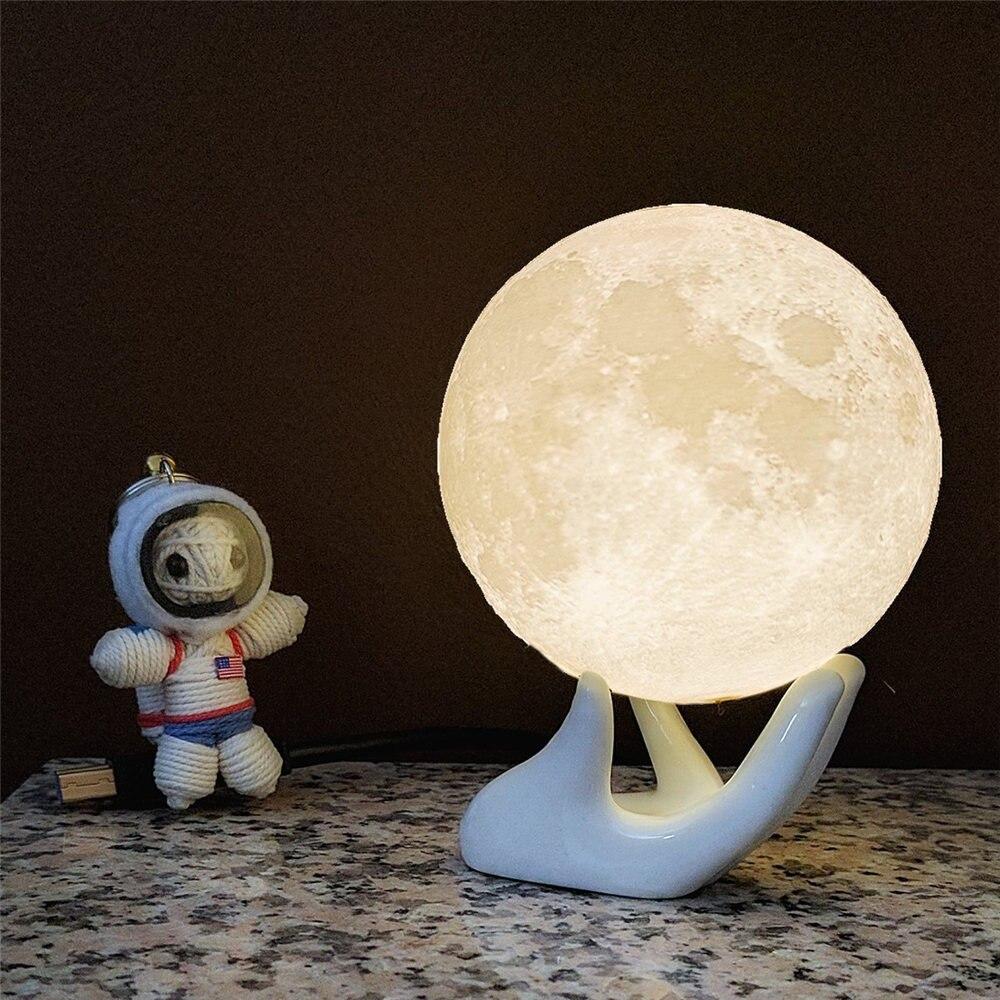Moon Lights Bedroom: WRUMAVA LED Night Light Moon Lamp 3D Print Moonlight Luna
