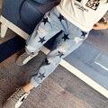 Meninas Rasgado Calça Jeans Cintura Elástica Calças Jeans Para Meninas 8 9 10 11 12 13 Anos Primavera Impressão Crianças Calças Largas Crianças traje