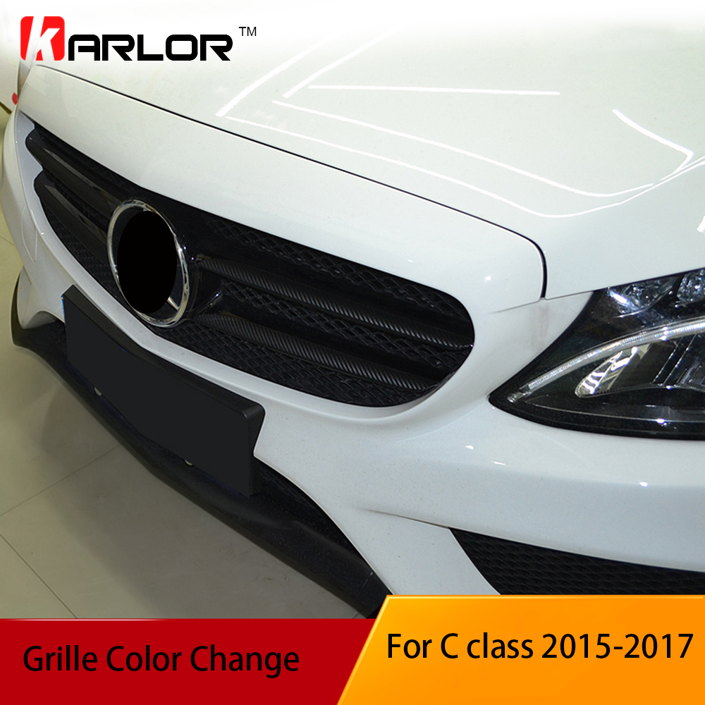Carbon fiber grille protection film car stickers and decals car styling for mercedes benz c - Grille indiciaire 2015 categorie c ...