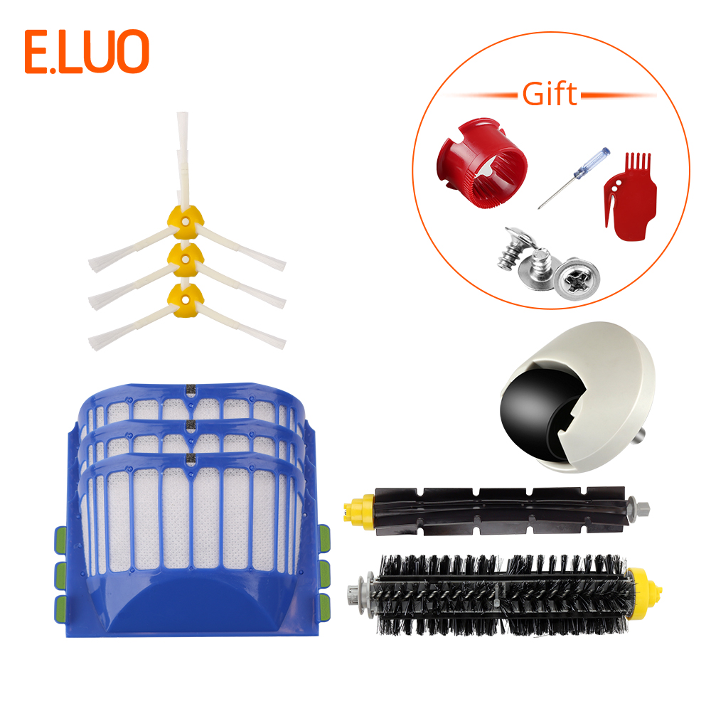 E.LUO Bristle & Flexible Beater Brush+Aero Vac Filters+Side Brushes+Wheel Spare Parts for iRobot Roomba 500, 600 SeriesE.LUO Bristle & Flexible Beater Brush+Aero Vac Filters+Side Brushes+Wheel Spare Parts for iRobot Roomba 500, 600 Series