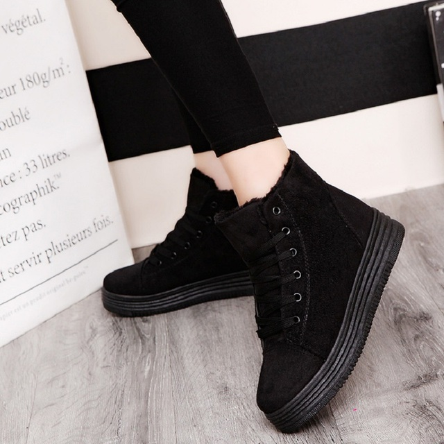 Women Winter Boots Suede Warm Platform Snow Ankle Boots Women Casual Shoes Round Toe Female Botas Mujer