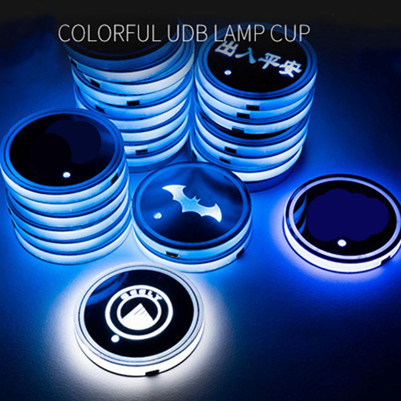 2 pieces Universal Car Anti Slip Mat With 7 Colors Car LED Coaster Cup Non-slip mat Decorative atmosphere lights