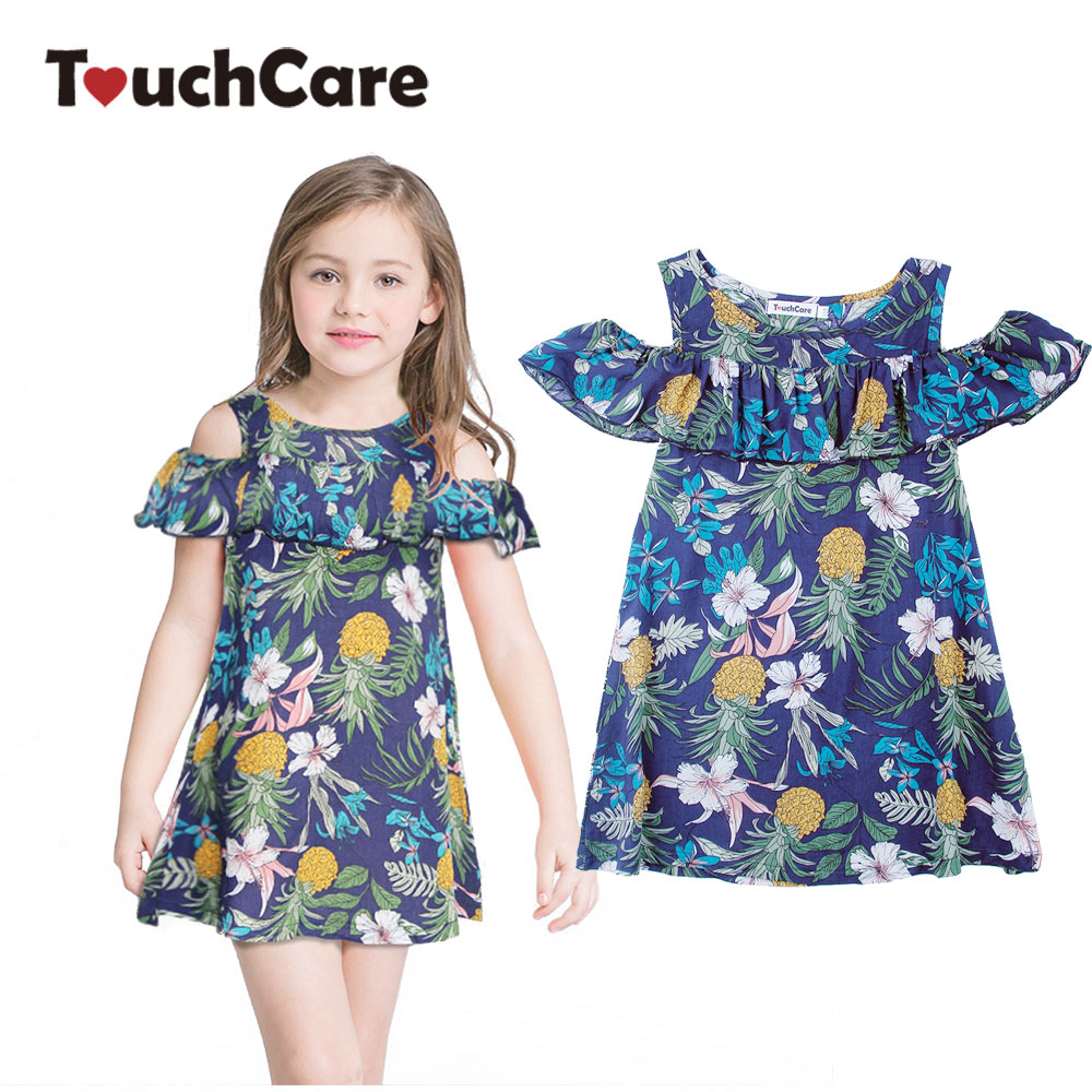 Pineapple Printed Girls Party Dress Ruffles Sunflower Summer Princess Dress Princess Casual Costume Clothes Bohemian Ball Gown plus size bohemian printed tunic dress