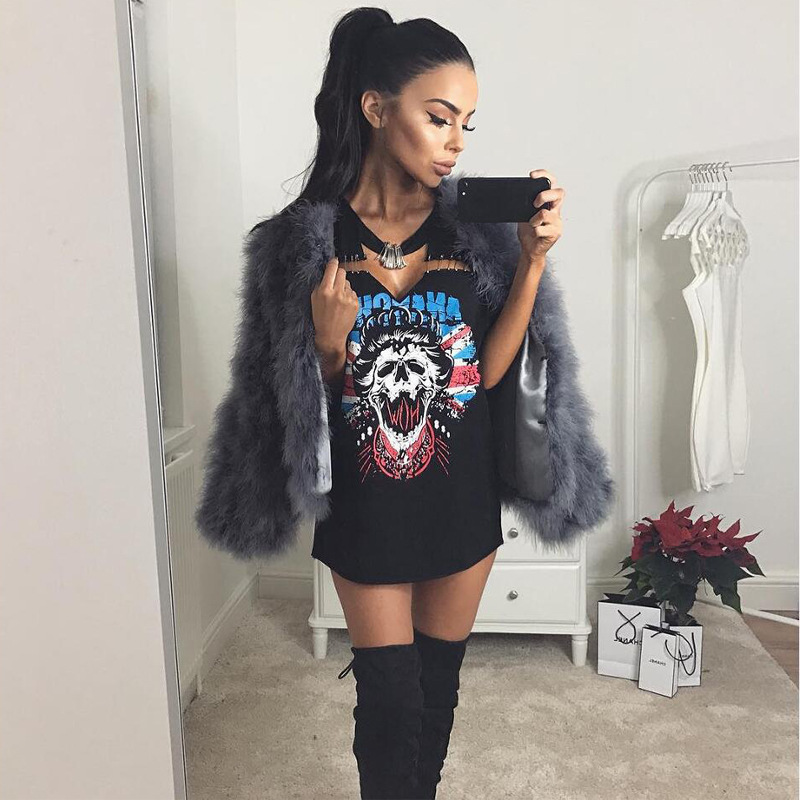 Female Afro Punk Fashion: The Punk Dress Real Novelty Print 2017 Spring Women's Punk