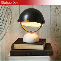 Retro Imitation Copper Gold Black Marble Base Reading Table Lamp Semi Circular Bedside Lamp Living Room