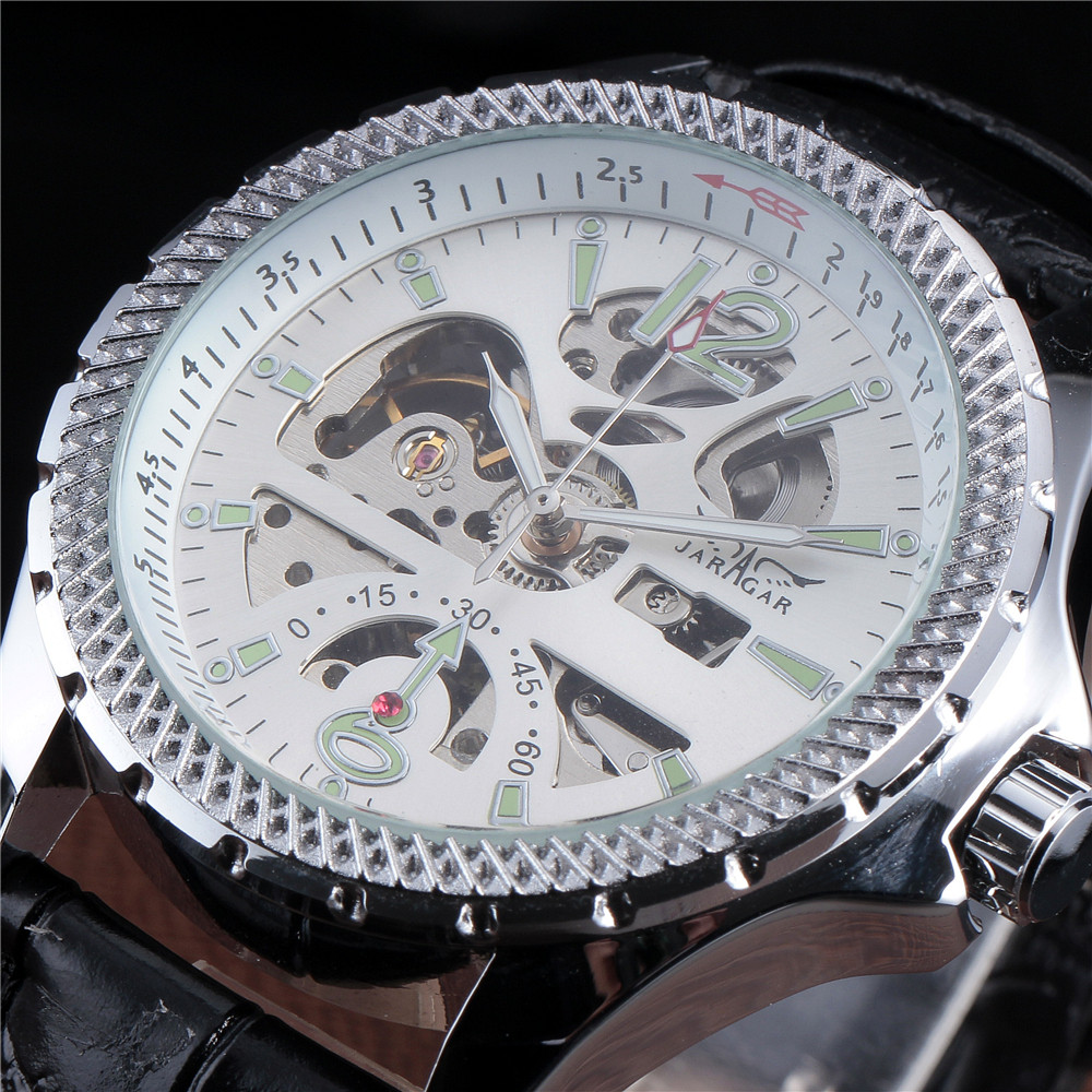 JARAGAR Mens Luxury Skeleton Hollow Mechanical Watches Relogio Masculino Leather Strap Casual WristWatch  1pcs men s luxury mechanical wristwatch skeleton watches hand wind up leather strap free shipping wholesale relogio masculino j5