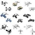 Moda jóias transporte 18 design de bicicleta que compete a motocicleta roda avião Abotoaduras botão de punho dos homens