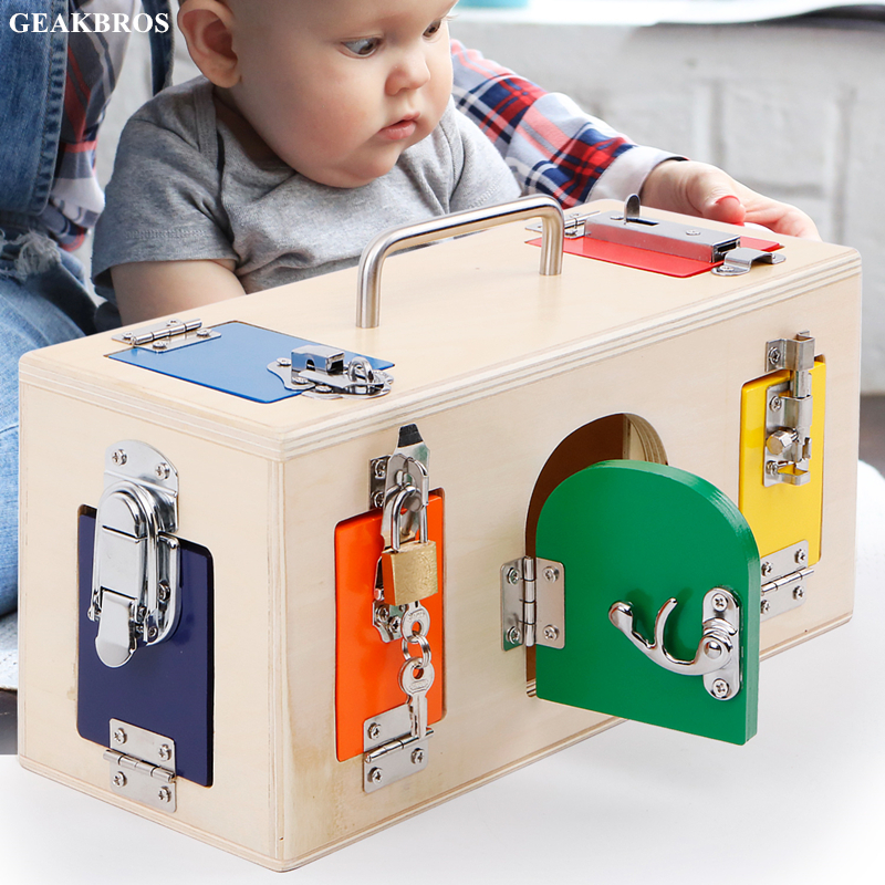 Kids Montessori Toys 3 Years Lock Box Montessori Material Sensorial Educational Wooden Toys Children Montessori Baby Toy Oyuncak