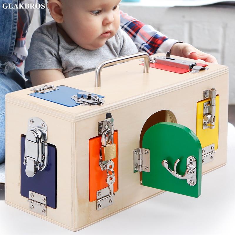 Kids Montessori Toys 3 Years Lock Box Montessori Material Sensorial Educational Wooden Toys Children Montessori Baby Toy Oyuncak