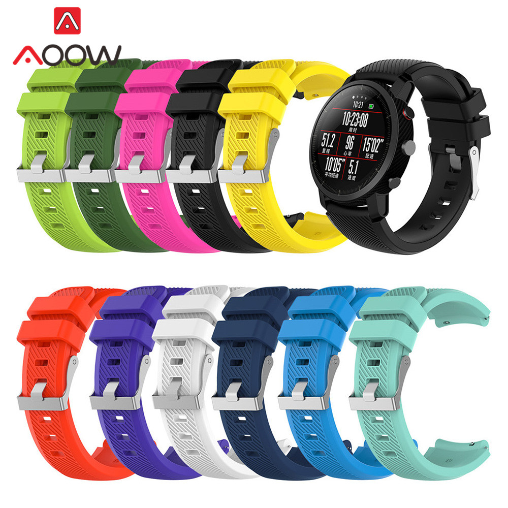 Silicone Watchband For Huami Amazfit Stratos 22mm Quick Release Watch Band Rubber Replacement Bracelet Strap For Amazfit Pace