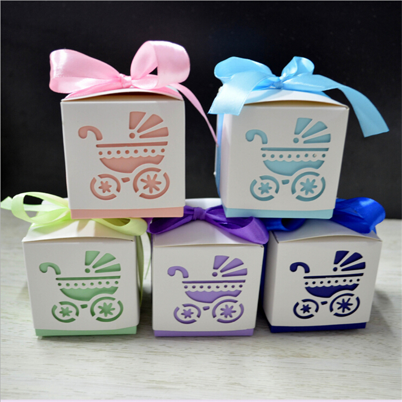 50pcs Baby Carriage Birthday Party Decorations Kids Favor Boxes Candy Box Shower Decoration With Ribbon