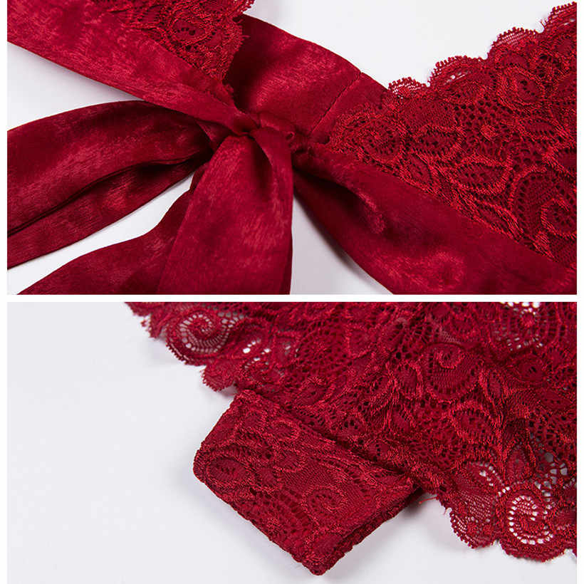 760a7e9a751 ... BOOFEENAA Red Lace Intimate 2 Piece Lingerie Set Underwear Bra Brief  Sets Bow Satin Tie Up