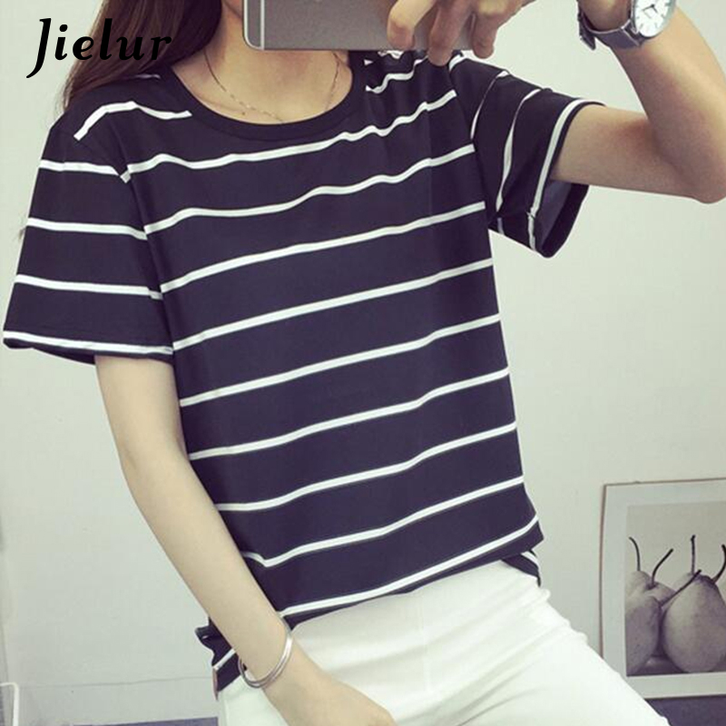7ab3ed1ba 2018 Summer Fashion New Blusa Loose Short-sleeved Striped T shirt Women  Simple Casual Bottoming ...
