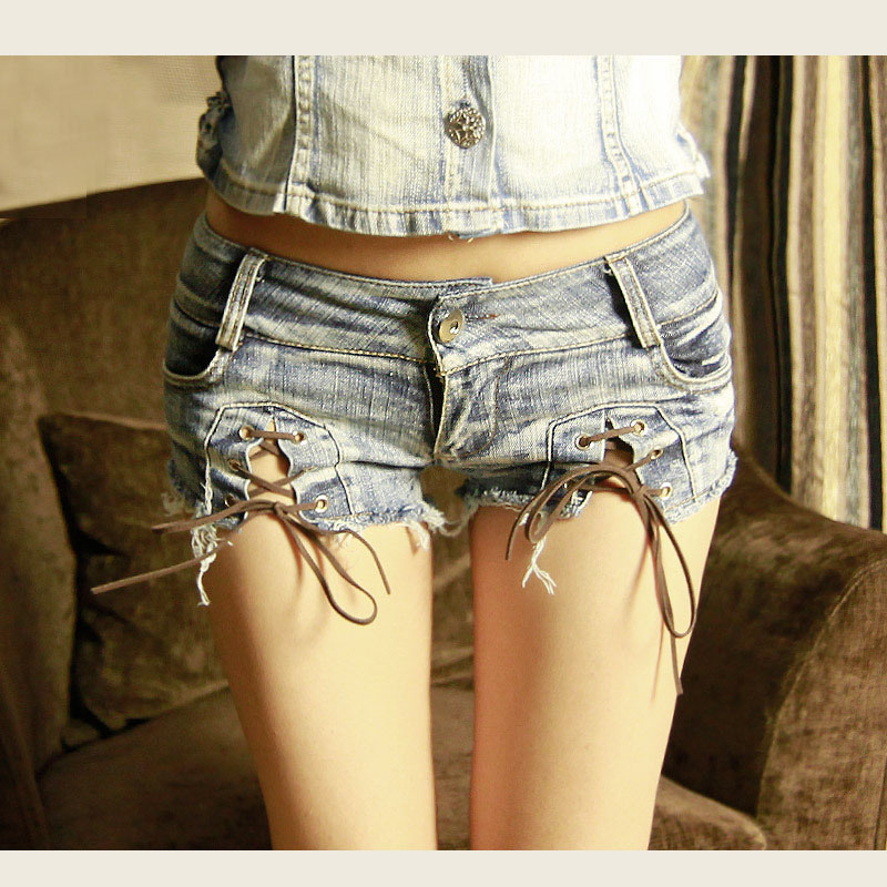 Womens Short Unique Denim Tight Shorts for Woman Low Waist Summer Hole Destroyed Shorts