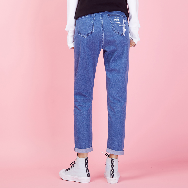 LEIJIJEANS New Arrival Spring Vintage Light Blue Women Harem Jeans Plus Size For Mid Waist Tassel Women Jeans 9015