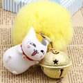 New Cute Cat Kitten Teacher Style With Little Bell Fur Pompom Keychain Pendant For Bag Charms Cartoon Fans Novelty Product