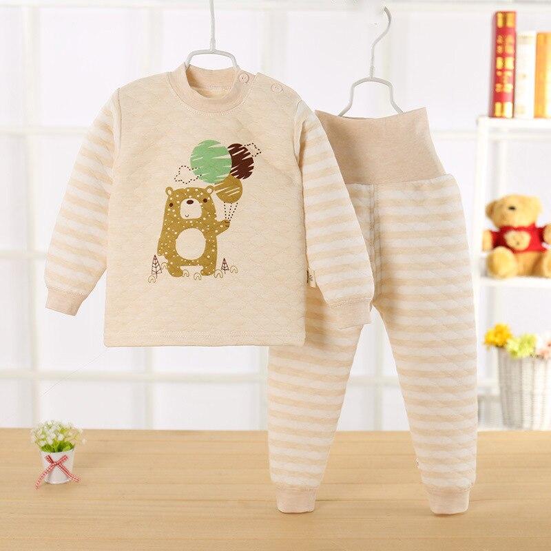 Kids Cotton   Pajamas     Set   Winter Children Girls Boys Warm Sleepwear Clothing   Set   Warm Thick Shirts + Pants 2pcs