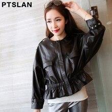 2017 Spring Guaranteed Genuine Leather Jacket Woman Black Stand Collar Elegant Sheepskin Leather Jacket Short