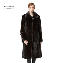 HUANHOU QUEEN classic real mink fur coat for women's thick warm with fur hood,special collar and button,full pelt.