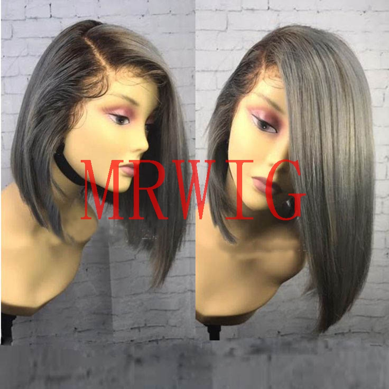 MRWIG short bob synthetic glueless front wig side part right ombre two tone lace wig 12inch pic swiss lace wig