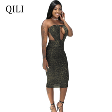 QILI Women Strapless Sexy Dress Silk Bronzing Plaid Sleeveless Hollow Out Bocycon Dresses Evening Party Club