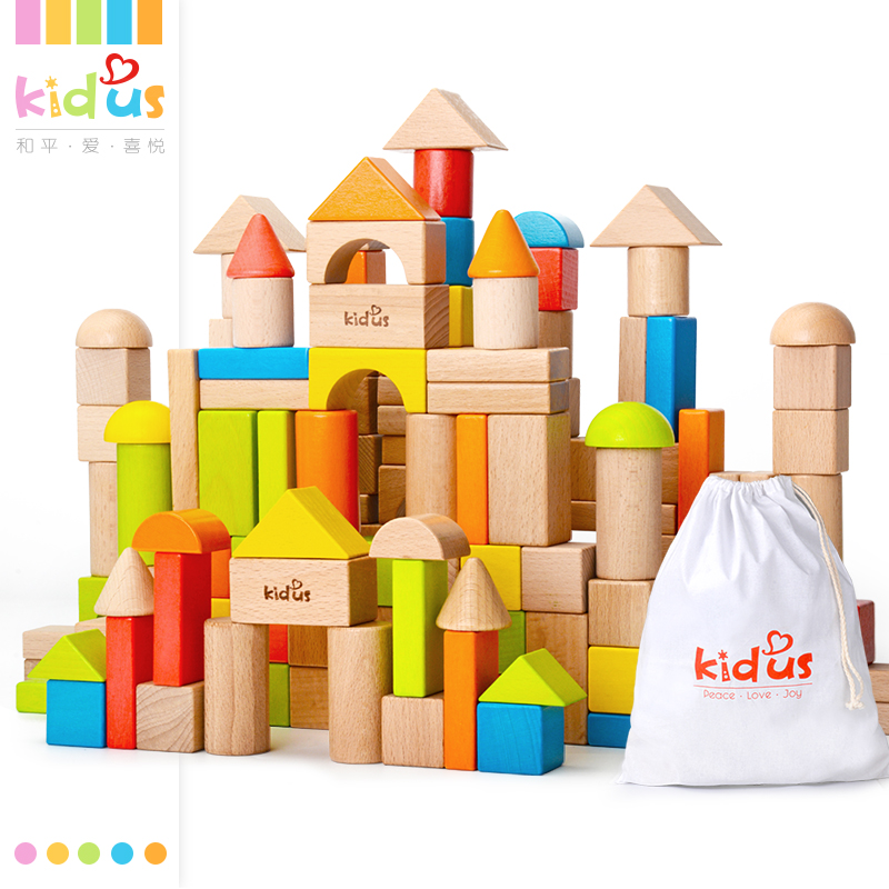 Zalami Wooden Blocks Assembling Early-Educational-Toy Colorful 80pcs Geometric