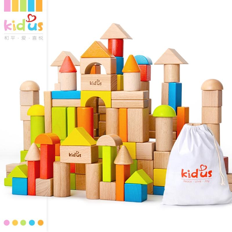 Zalami  80 PCS Wooden Blocks Early Educational Toy Geometric Assembling Building Blocks Colorful Beech Wood