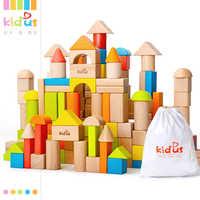 Zalami 80 個木製ブロック早期教育玩具幾何学組立ビルディングブロックカラフルなブナ木材