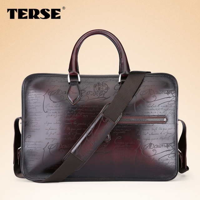 38ecacb95bfc TERSE Handmade Large Capacity Men Bag Italian Full Grain Leather Briefcase  With Single Shoulder Strap Top Quality