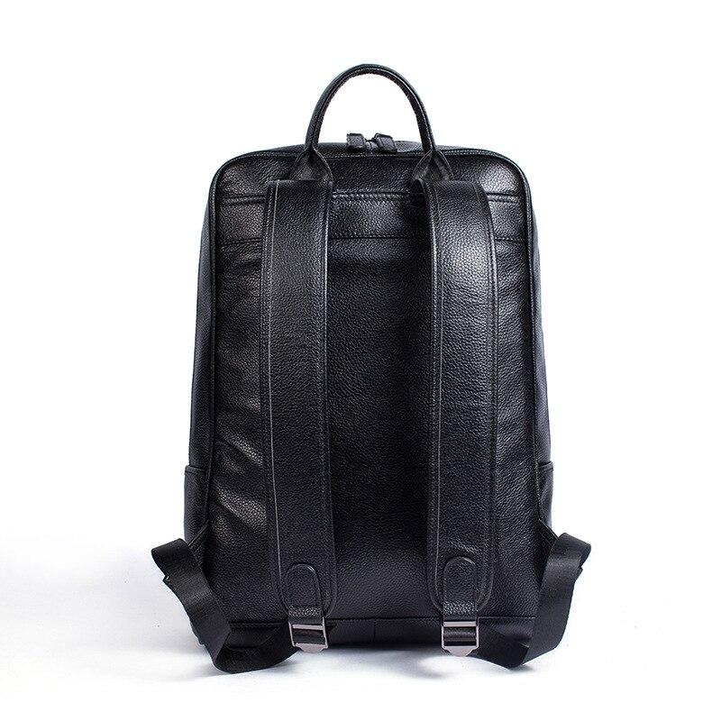 Hommes en cuir véritable sac à dos sac à dos pour ordinateur portable grande capacité sacs d'école pour adolescents mode décontracté sac de voyage Mochila noir - 3